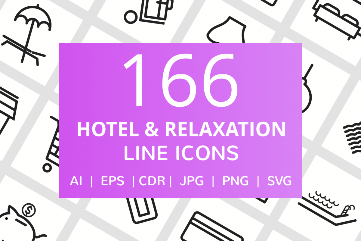 166 Hotel & Relaxation Line Icons example image 1