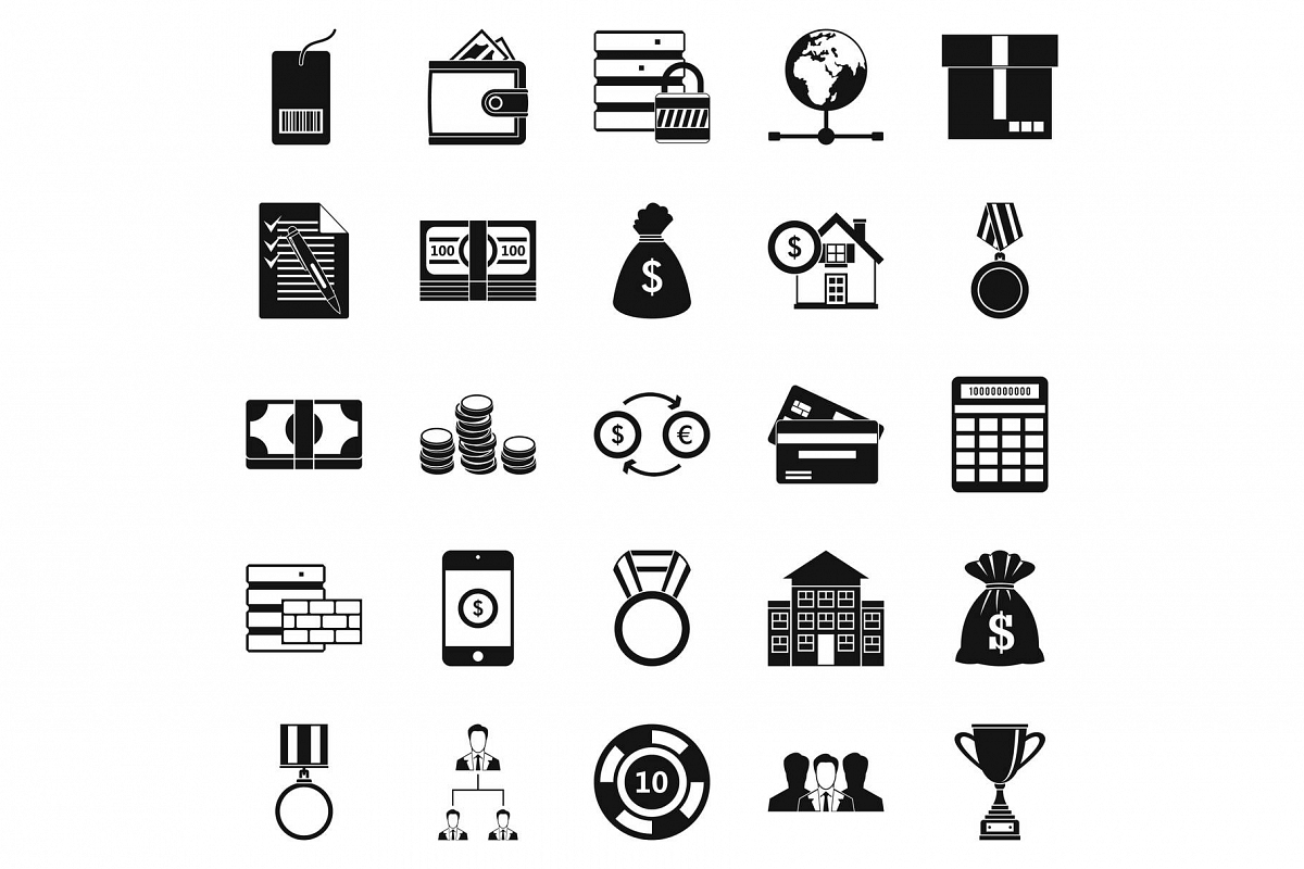 Cash costs icons set, simple style example image 1