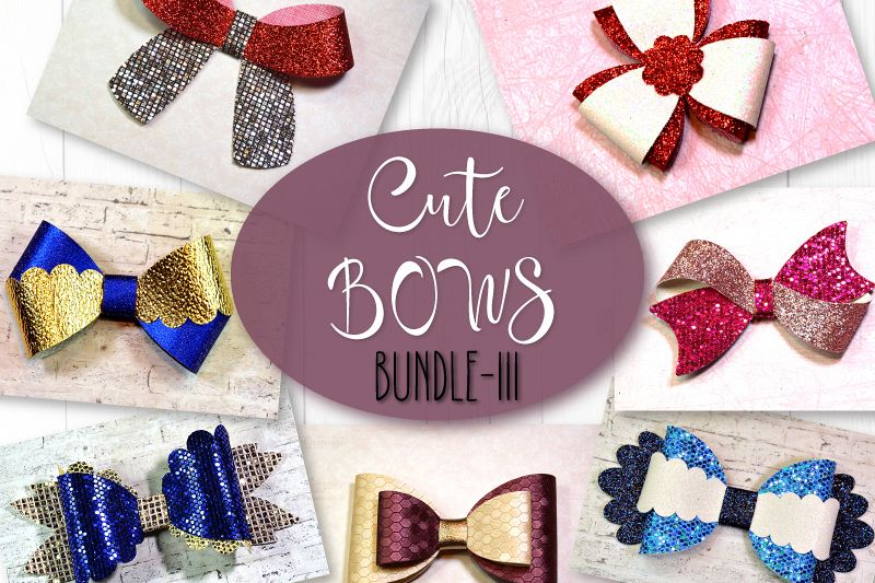 7 Hair bow template SVG, Faux leather bow template Cricut example image 1