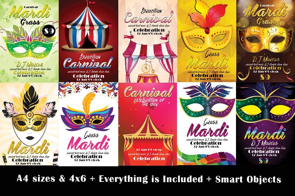 10 mardigras carnival festival flyers bundle