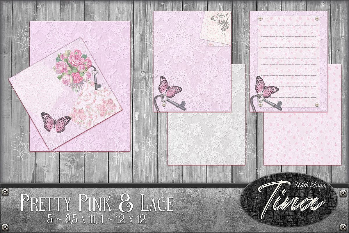 Pink Collage Butterflies Lace Roses 091618PJ example image 1
