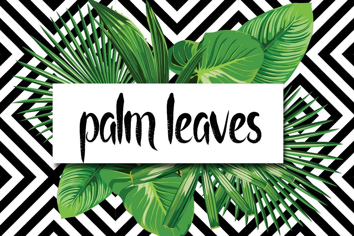 Realistic palm leaves pattern on the geometric background example image 1