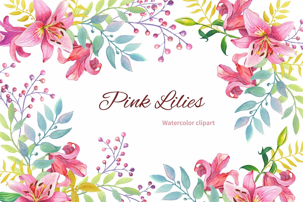 Pink Lilies.Watercolor clipart. example image 1