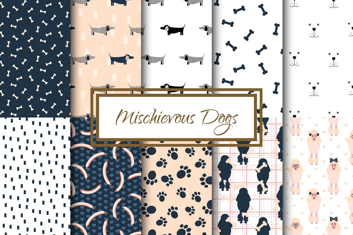 Mischievous Dogs seamless patterns example image 1