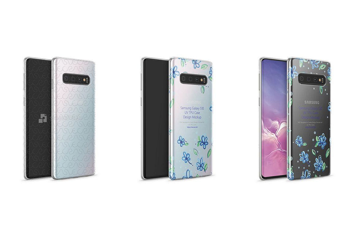 Samsung Galaxy S10 TPU Clear Case Mockup 2019 Angled example image 1