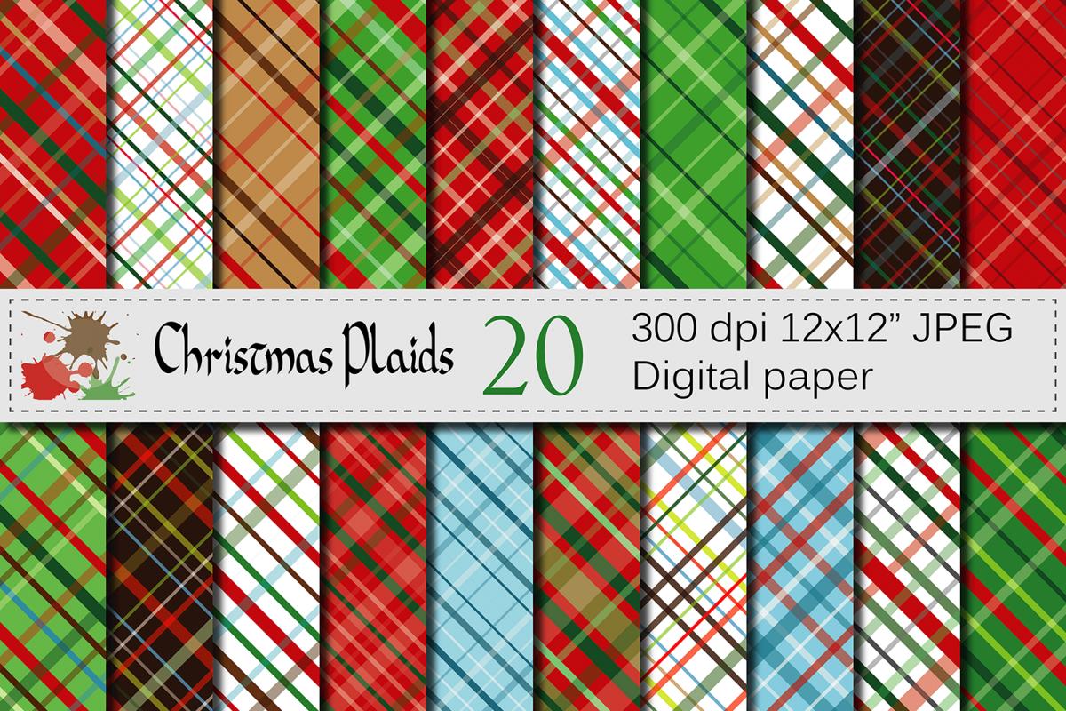 Christmas Plaids Digital Paper  example image 1