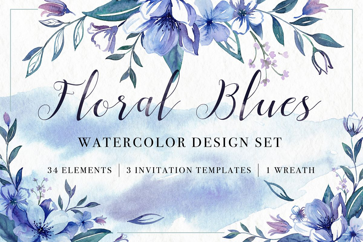 Floral Blues Watercolor Set example image 1