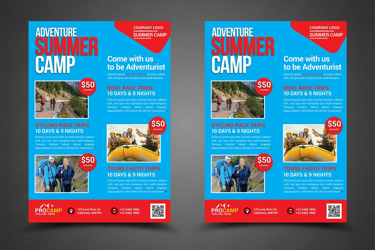 Adventure Summer Camp Flyer Template example image 1