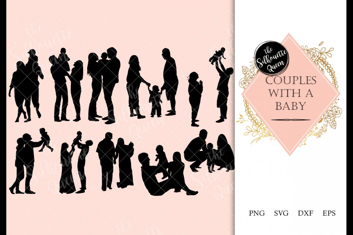 Couple with a Baby svg file, family svg cut file, silhouette example image 1