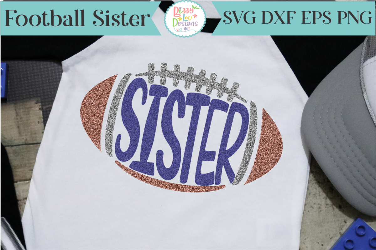 Football Sister SVG - Cutting File example image 1
