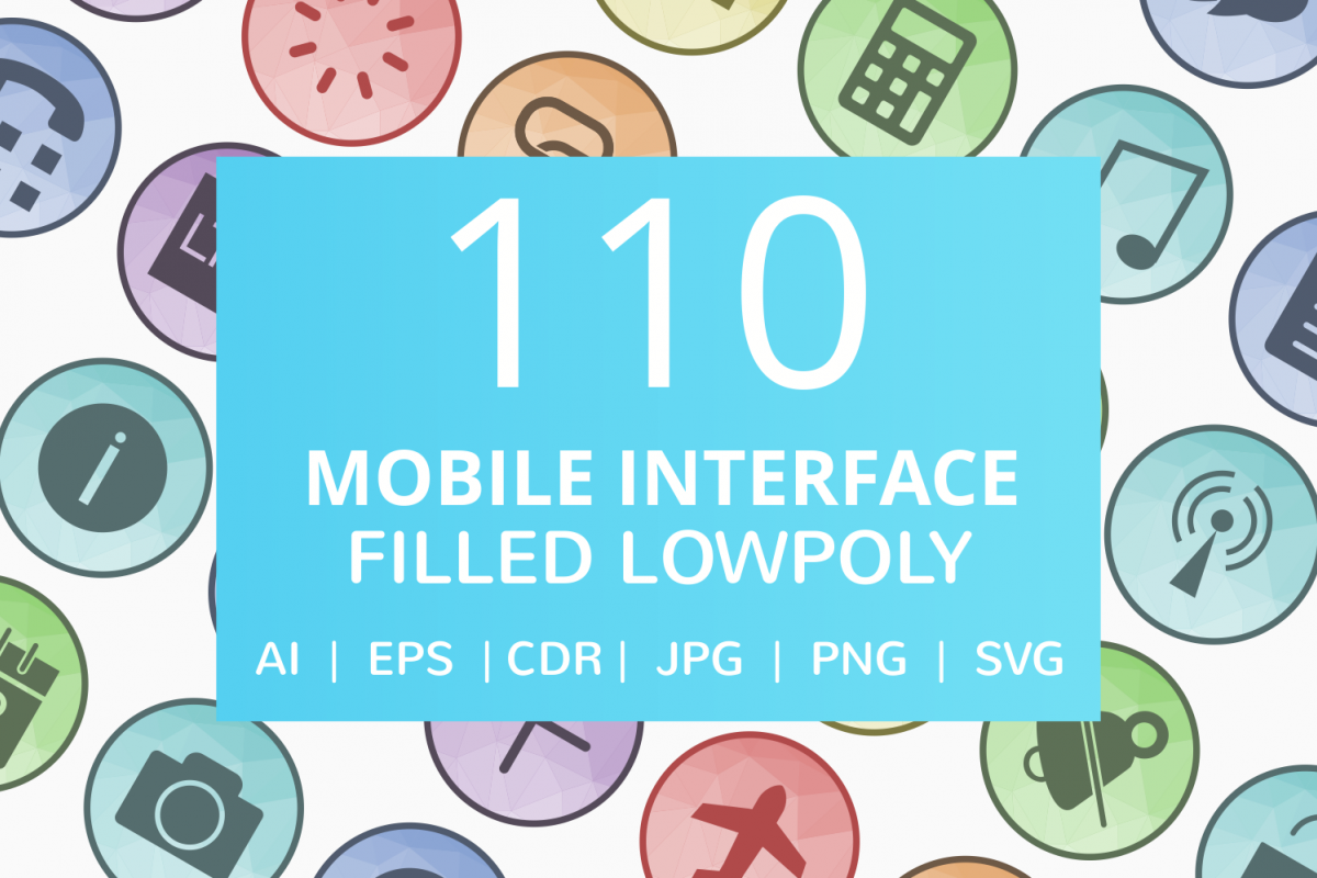 110 Mobile Interface Filled Low Poly Icons example image 1