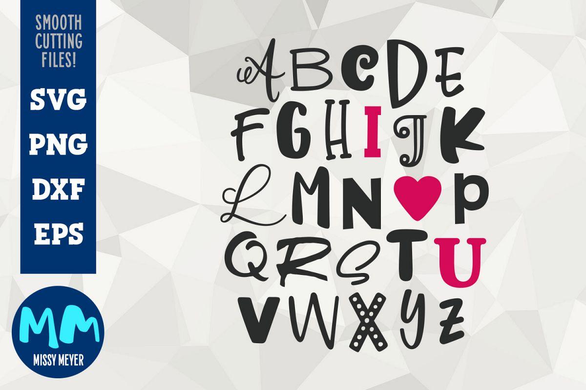 I Heart U Alphabet Word Art From Missy Meyer Fonts