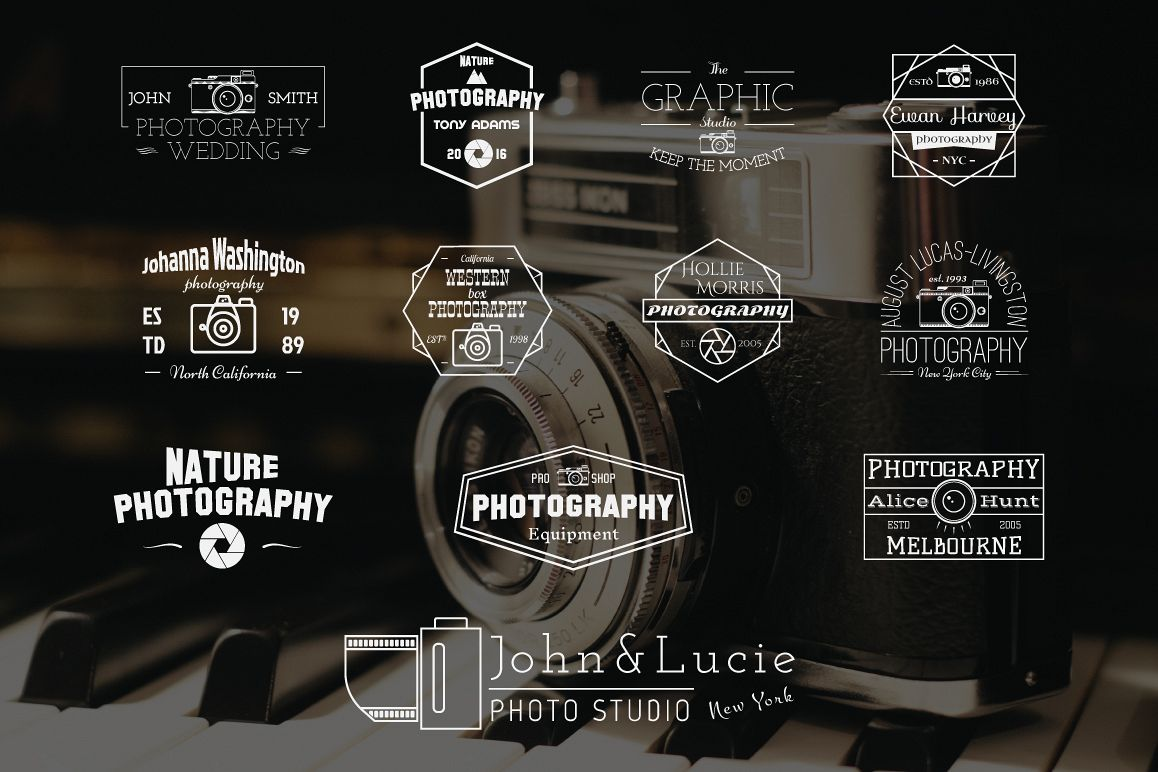 12 Fully Editable Vector Vintage Photography Badges Logos Labels In White And Grey Colors