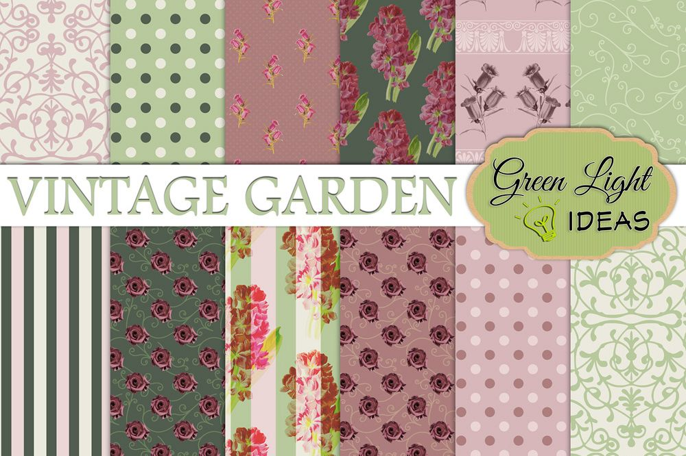 Vintage Floral Digital Papers example image 1