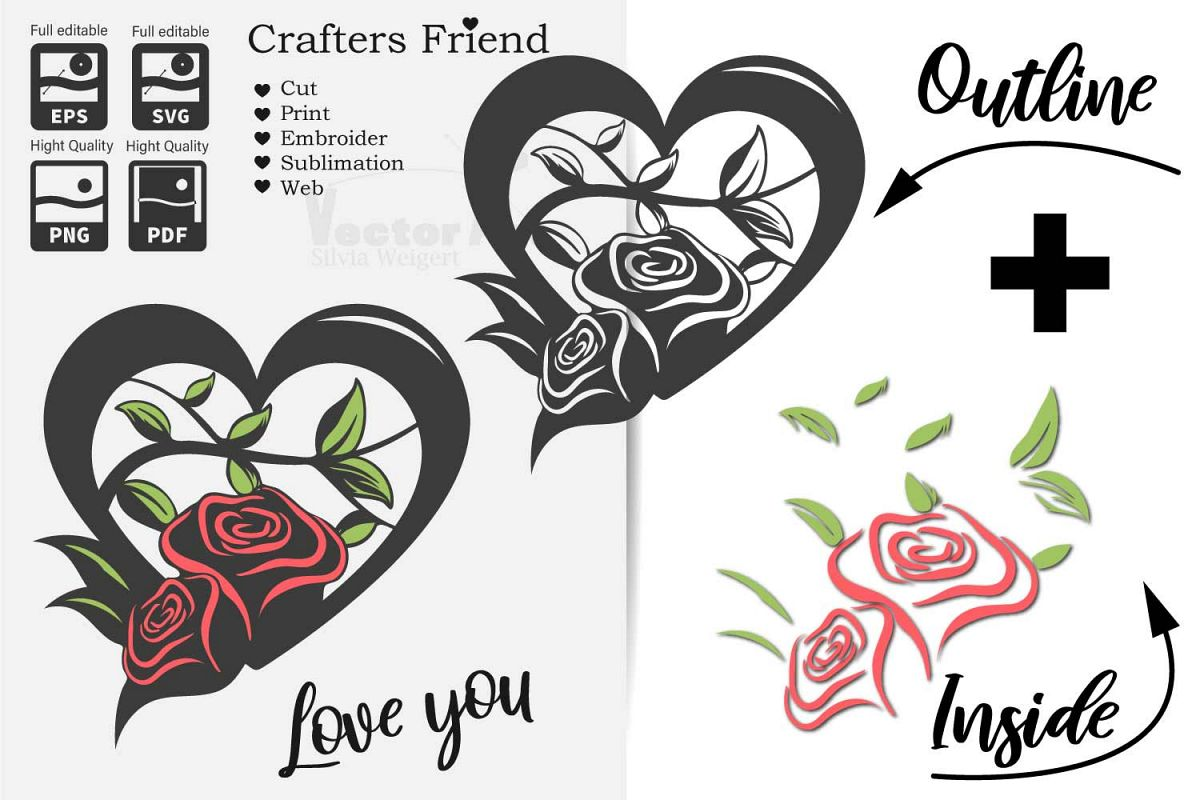 Heart with Roses - Love is everywhere - Print and Cut example image 1