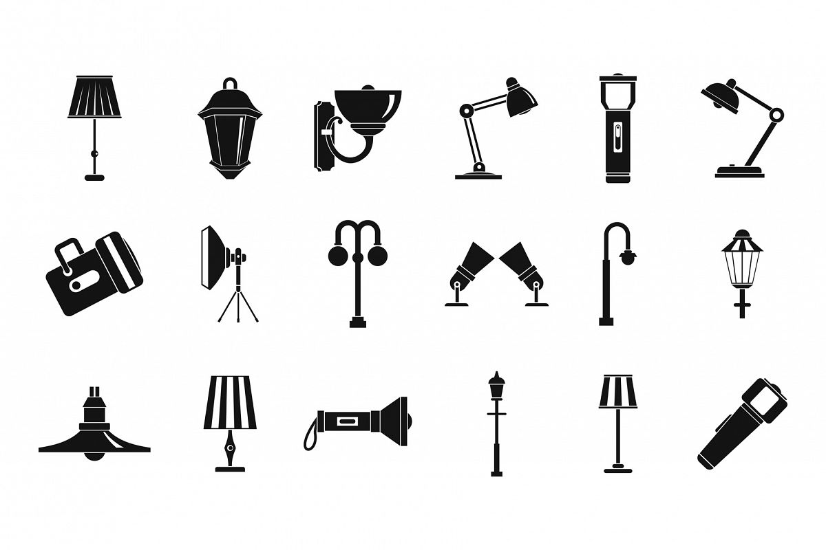 Lamp icon set, simple style example image 1