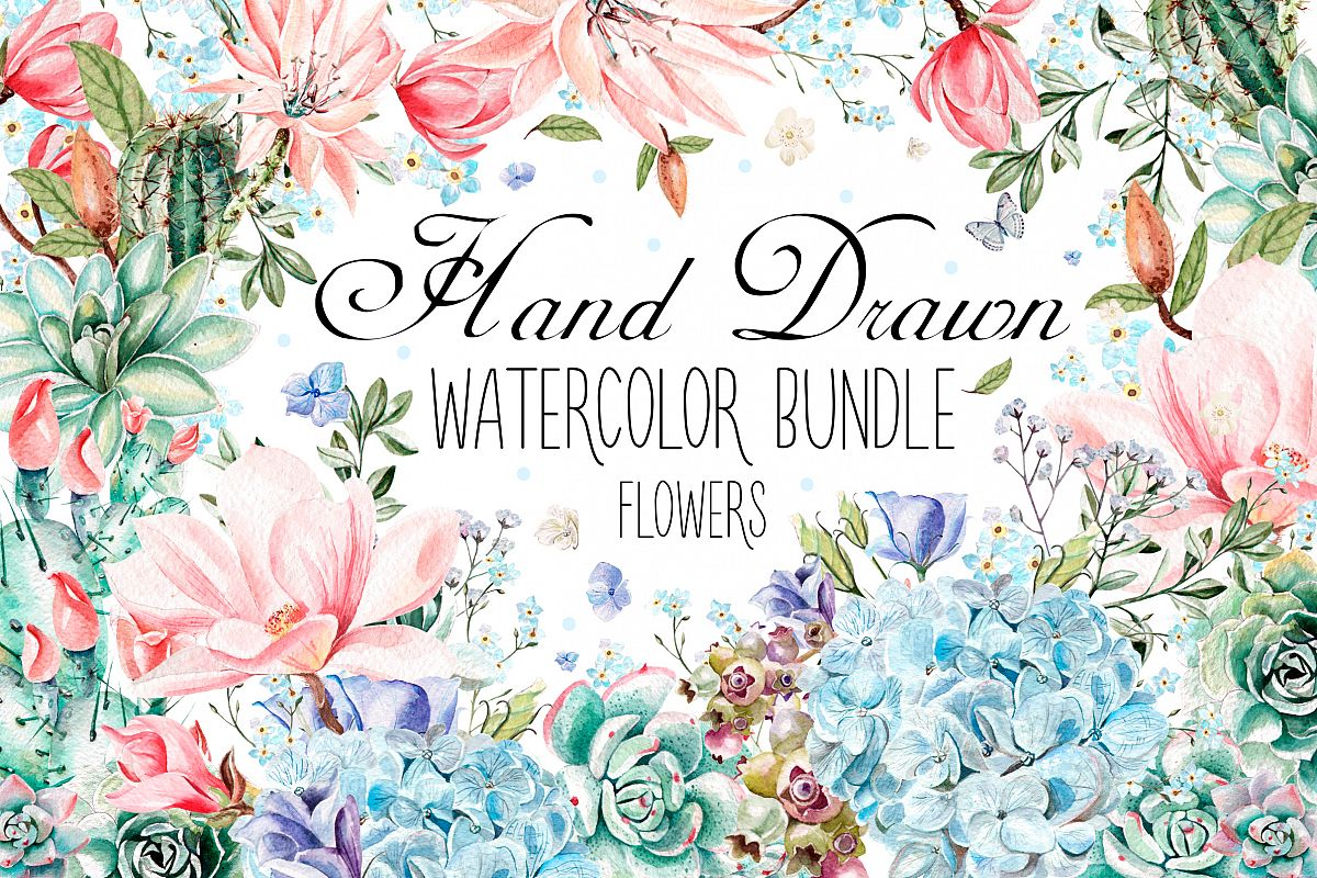HandDrawn Watercolor Bundle FLOWERS3 example image 1