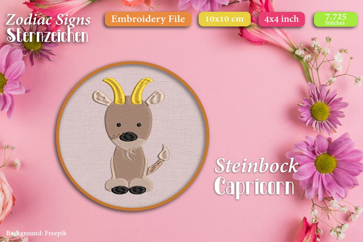 Zodiac sign - Capricorn - Embroidery Files example image 1