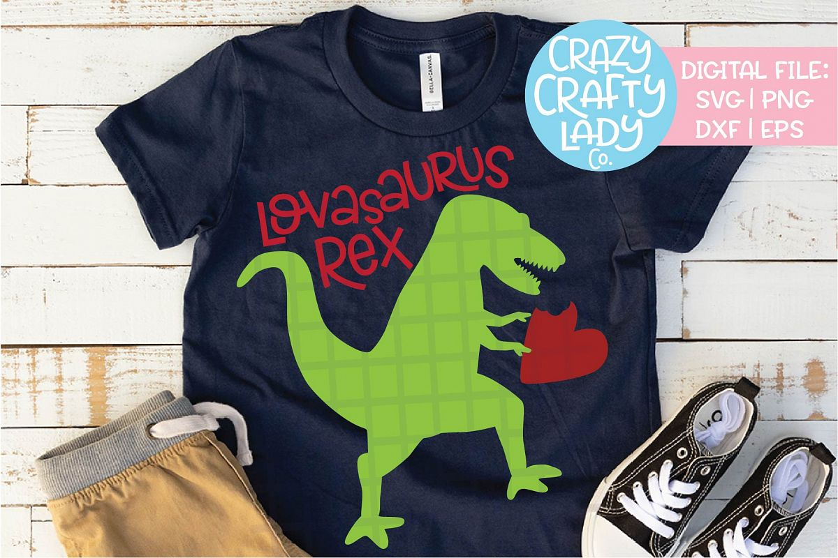 Valentine's Day Dinosaur SVG DXF EPS PNG Cut File example image 1