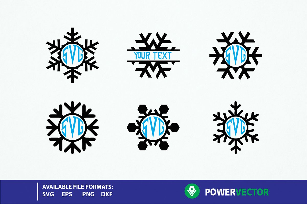 616b2ccc6 Snowflakes SVG - winter monogram frames cut files example image 1
