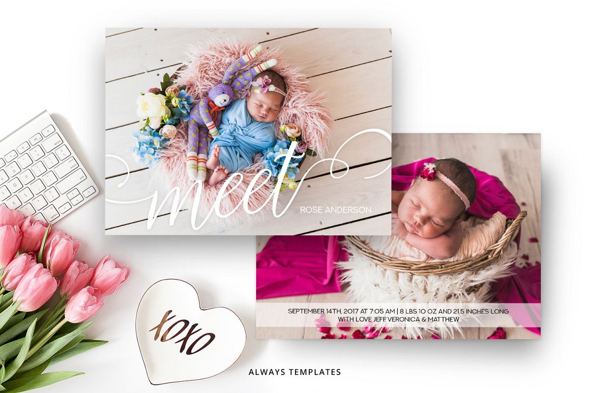 Birth Announcement Template BA004 example image 1