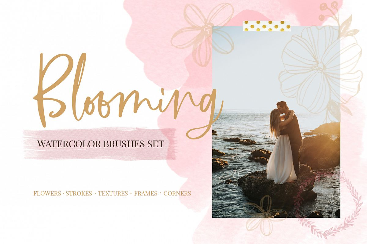 Blooming watercolor brushes set example image 1