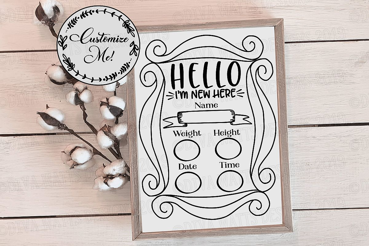 Birth Announcement   Nursery   Cutting File - You Customize example image 1