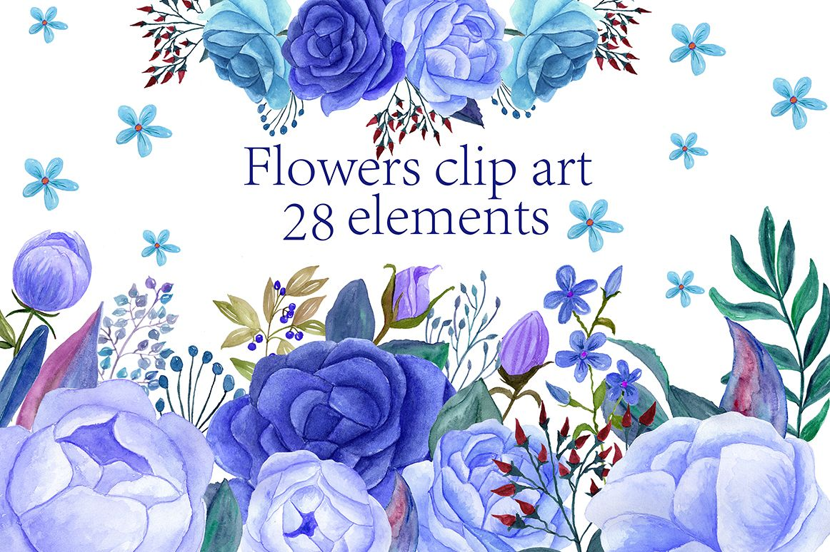 Watercolor Blue Flowers Clip Art By Chi Design Bundles