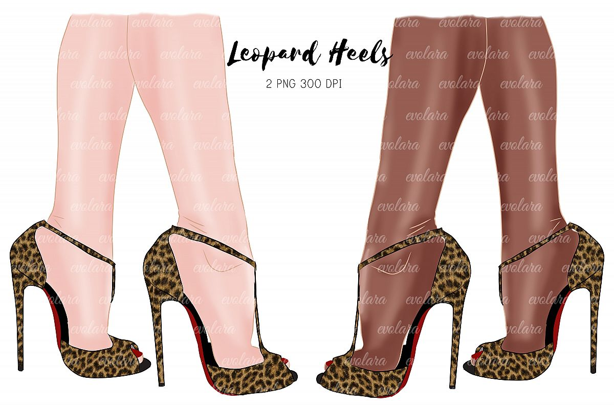 Leopard Heels High Heels Shoes Clipart Fashion Illustrations example image 1