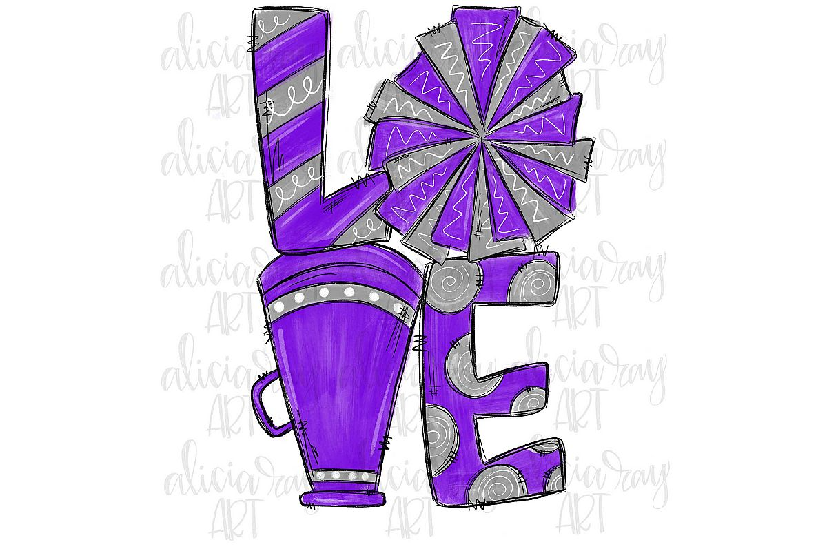 Cheer Love Purple and Gray example image 1