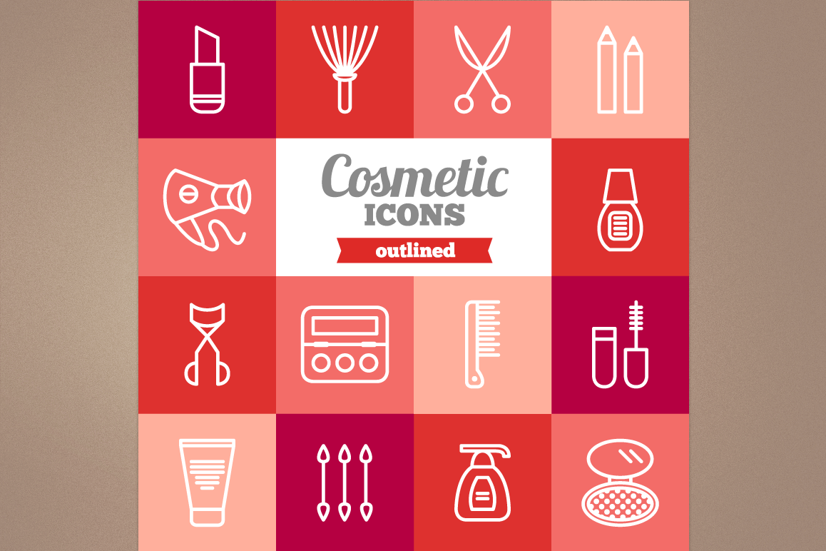 Outlined Cosmetic Icons example image 1