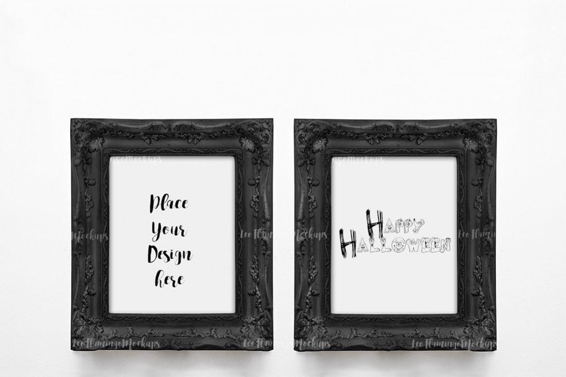 2 frame mockup two Vintage victorian style black frames 8x10 example image 1