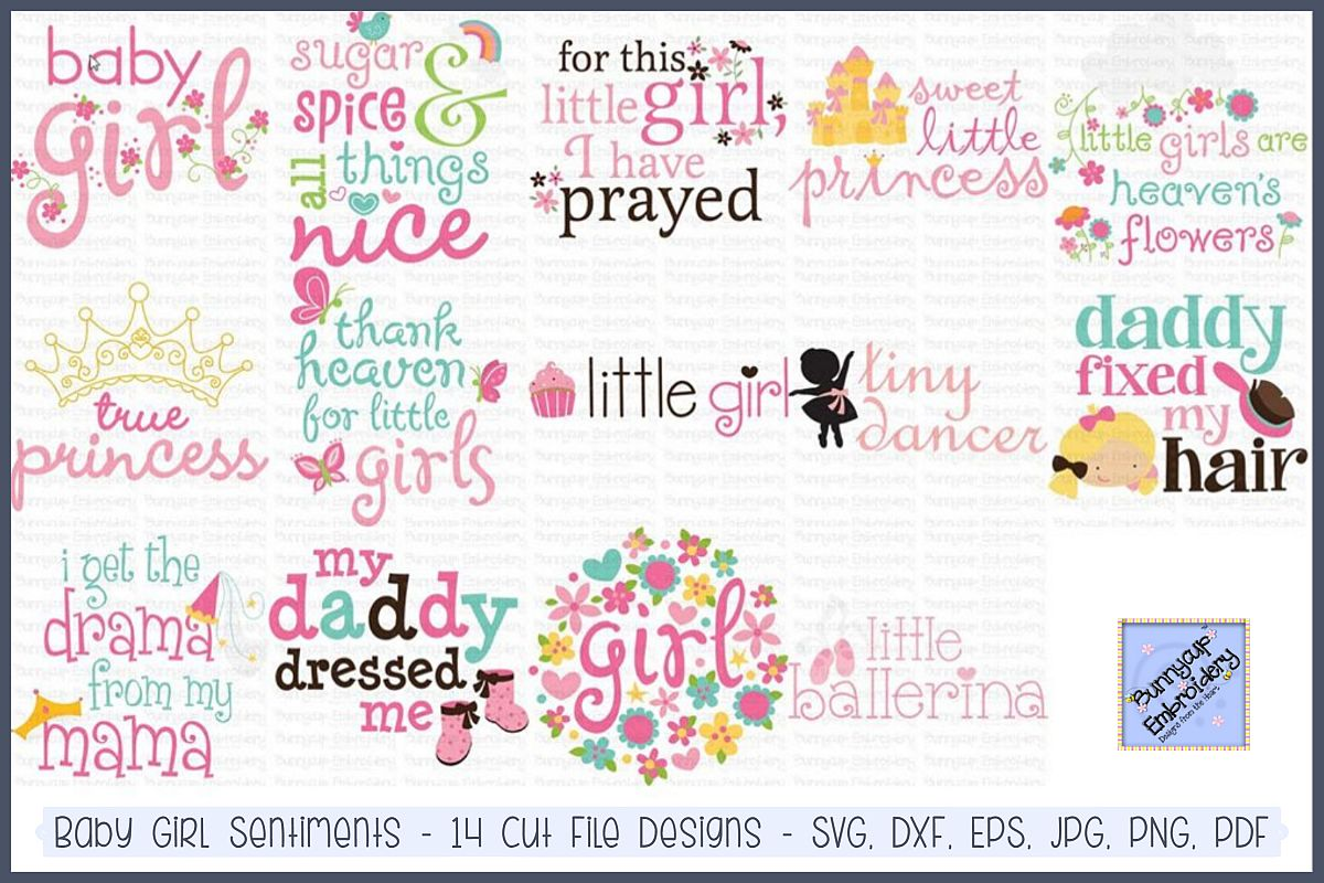 Baby Girl Sentiments- SVG, Cut Files, Clipart, Printables example image 1