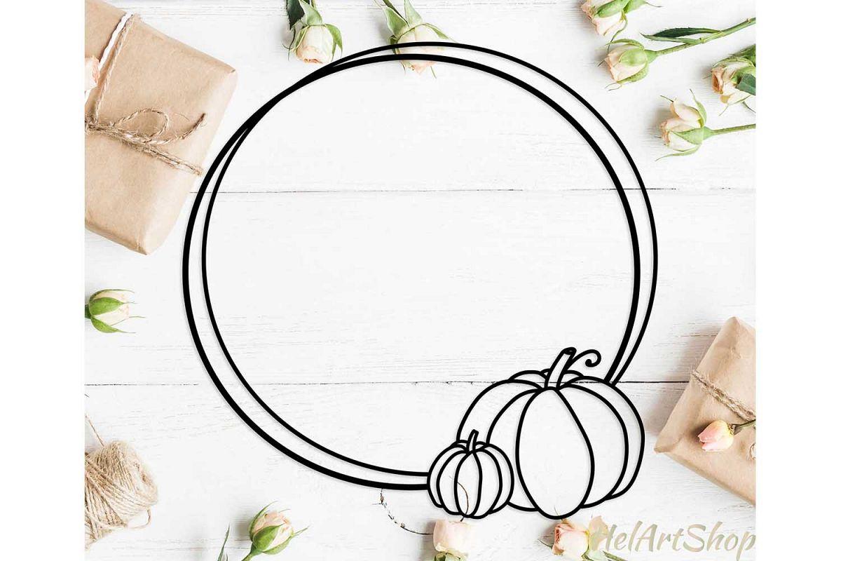 Pumpkin monogram frame svg, autumn fall frame svg cut file example image 1