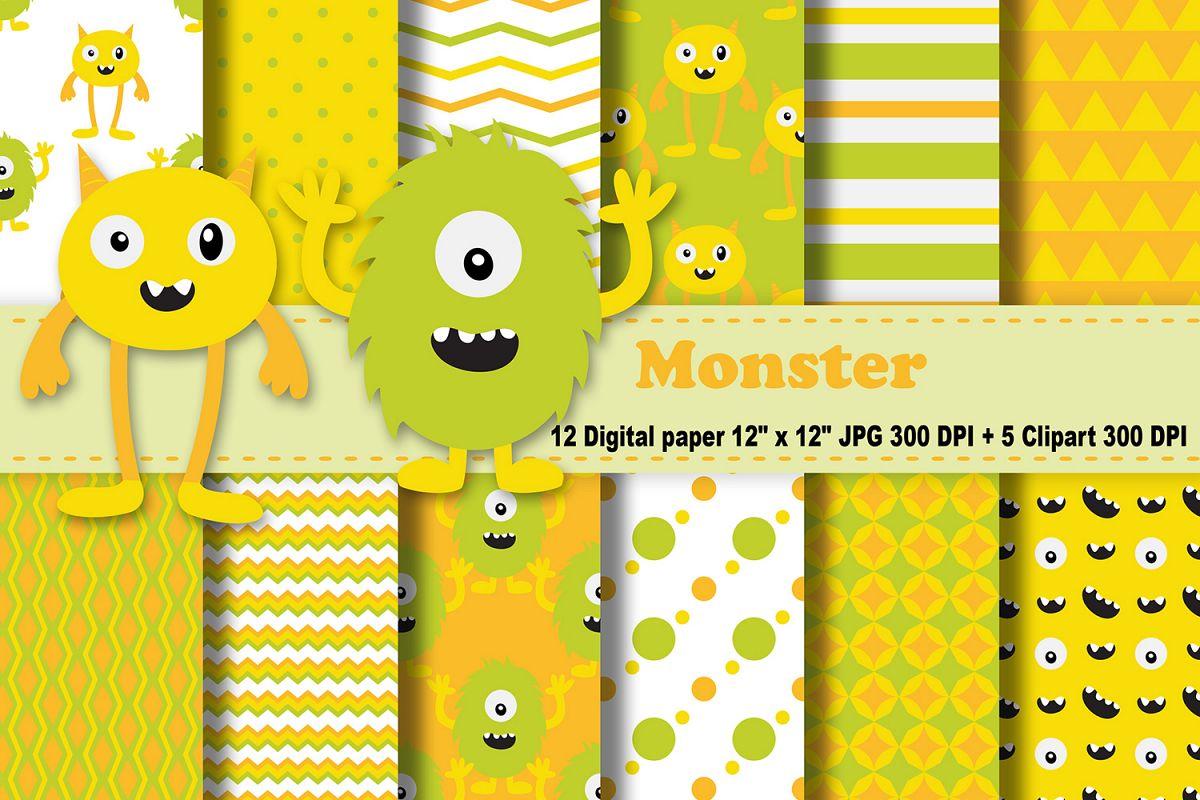 monster digital paper monsters background monsters scrapbooking