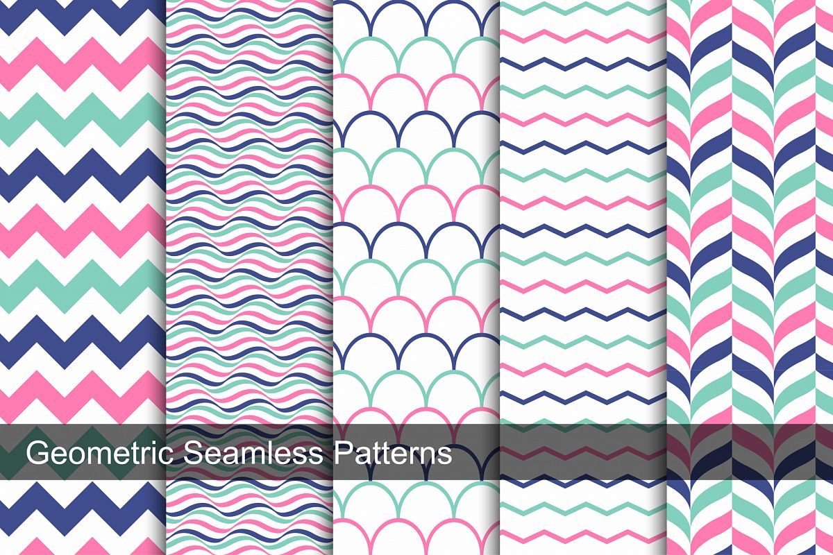 Color geometric patterns - seamless. example image 1