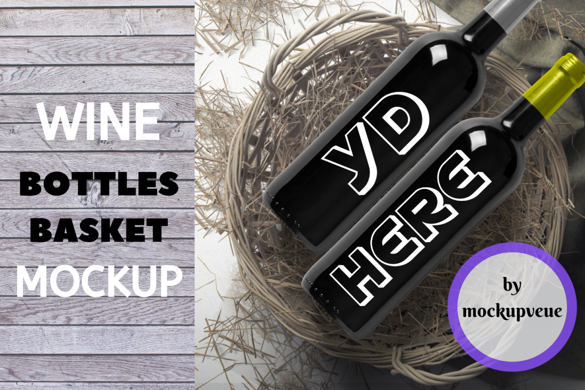 Black Wine Bottles with Basket Mockup - 3000x3000px example image 1