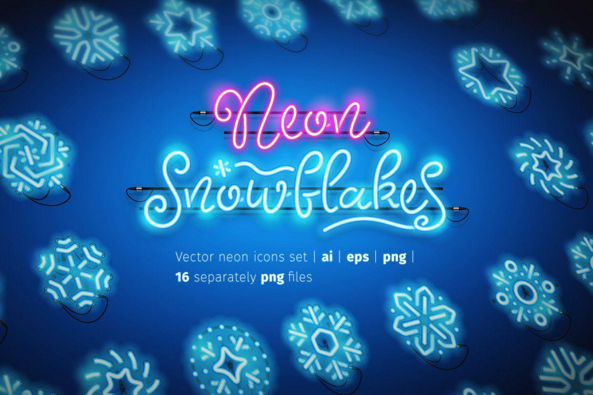 Christmas Colorful Neon Snowflakes example image 1