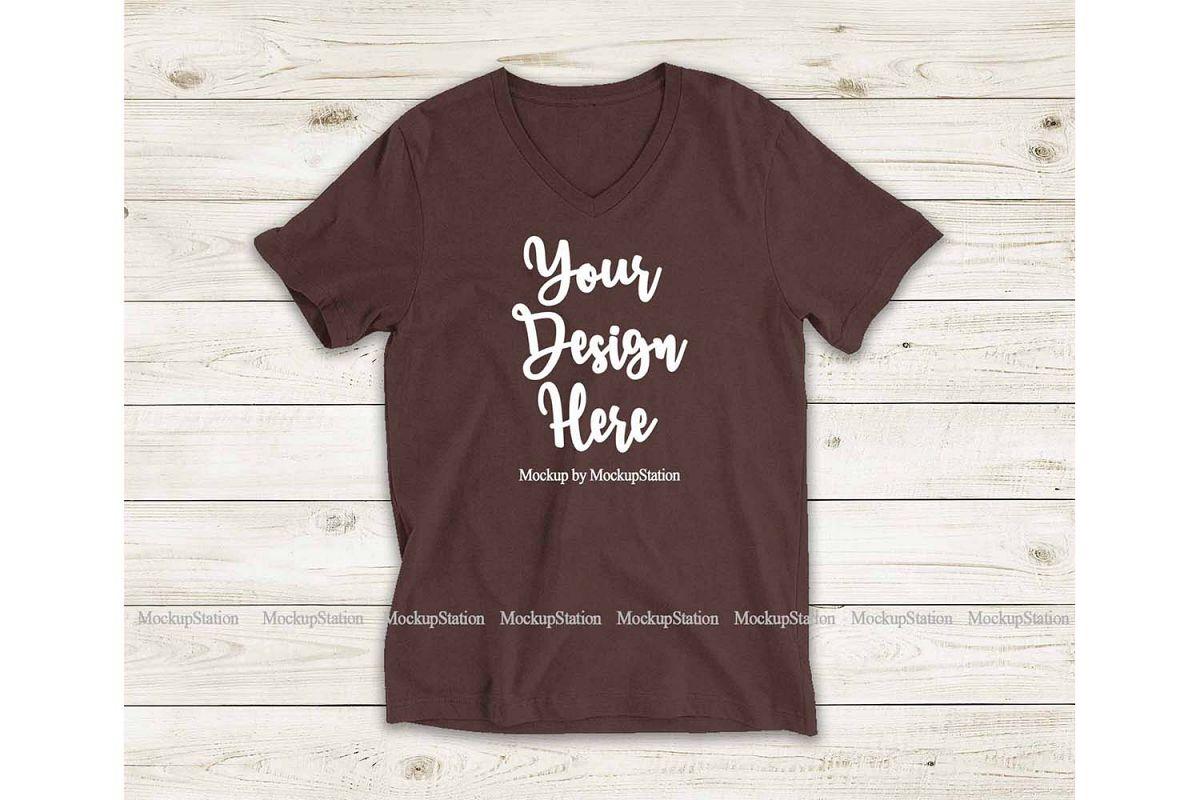 Brown Shirt Mock Up, Bella Canvas 3005 V-Neck Tee Mockup example image 1