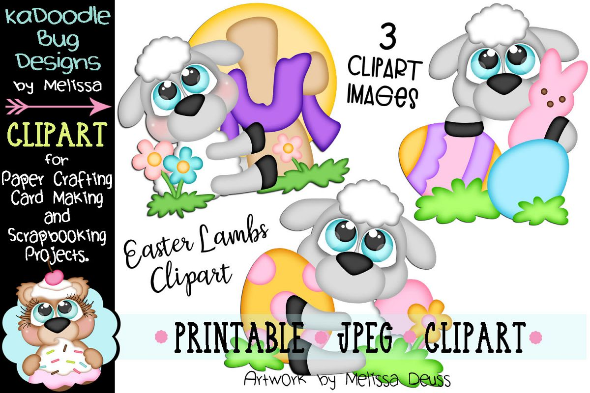 Spring Easter Lambs Clipart - 3 JPEG Files example image 1
