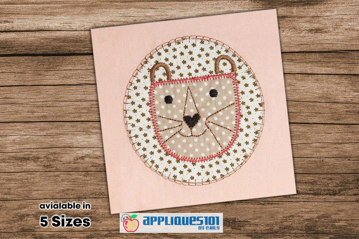 Cartoon Lion Face Machine Embroidery Applique Design - Lions example image 1