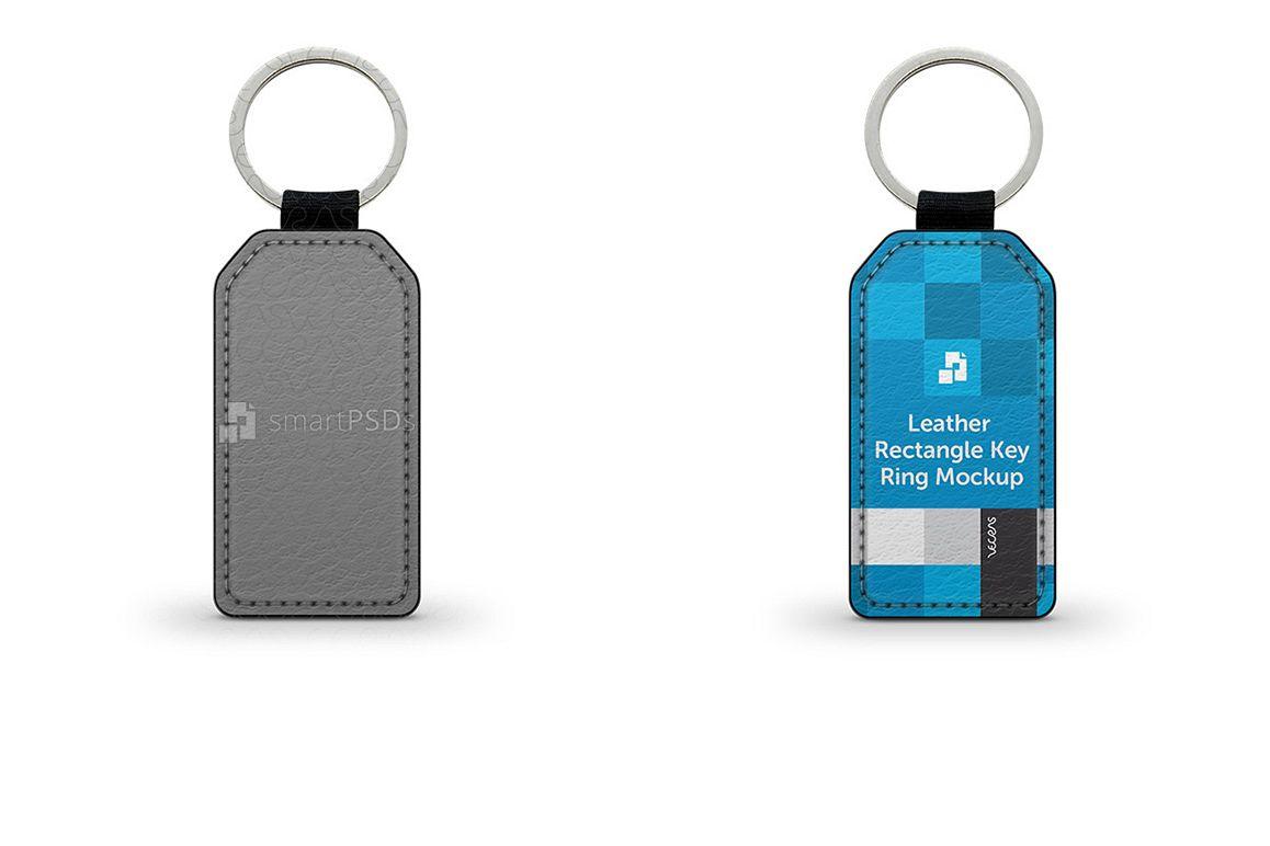 Rectangular Shape Leather Keyring Design Mockup example image 1