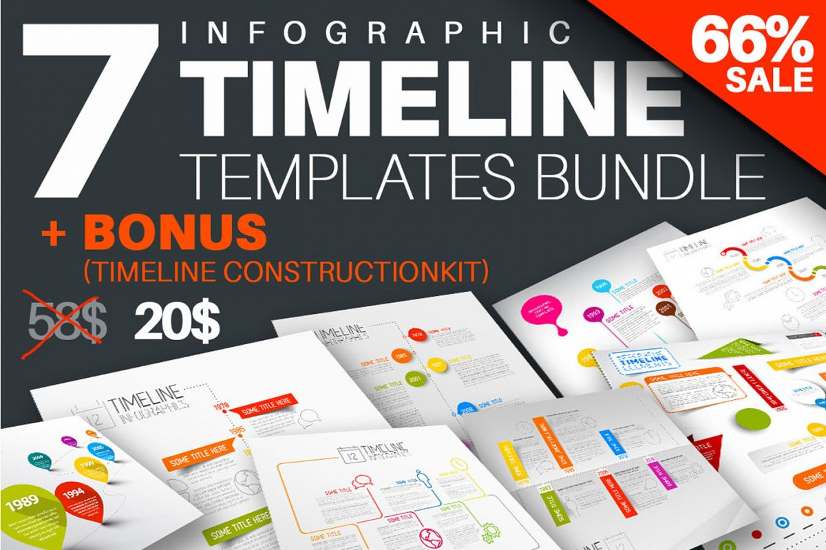 Infographic Timeline Templates Bundle example image 1