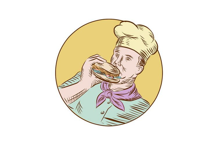 Chef Cook Eating Burger Etching example image 1