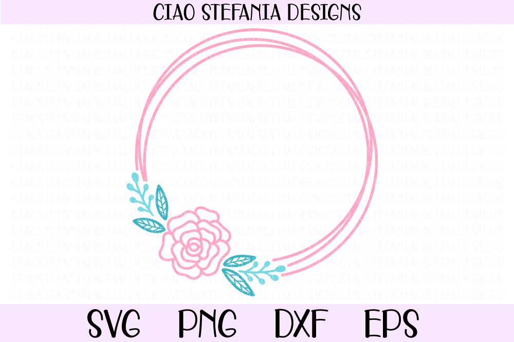 Rose Flower Geometric Circle Frame Wedding SVG PNG DXF EPS example image 1