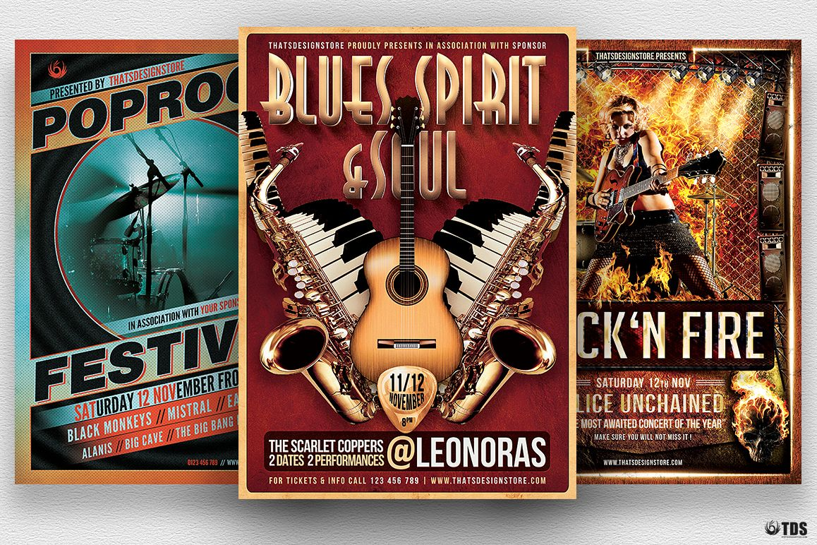 Concert Live Flyer Bundle V1 example image 1