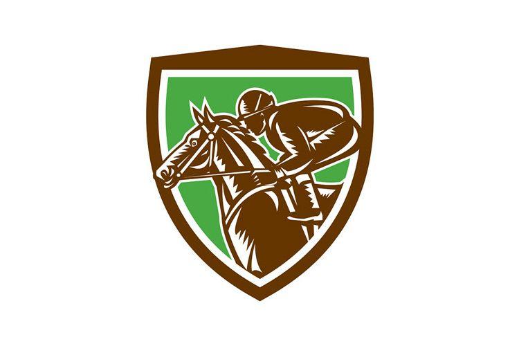 Jockey Horse Racing Side Shield Retro example image 1