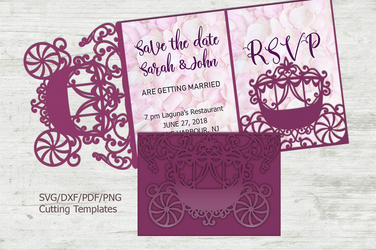 Princess Carriage Wedding Invitation Trifold Quinceanera svg example image 1