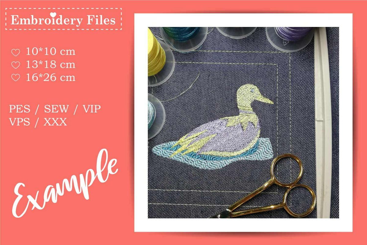 A cute Duck - Embroidery File for Beginners example image 1