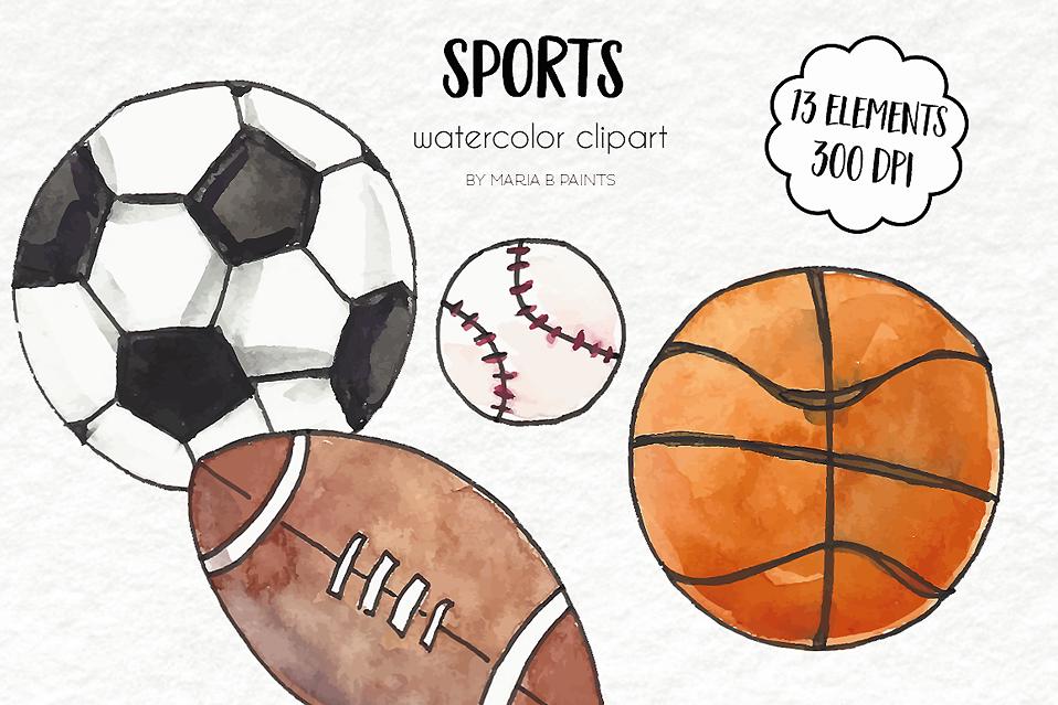 watercolor clip art sports equipment rh designbundles net All Sports Clip Art Sports Equiment
